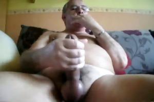 dad beats off in sofa