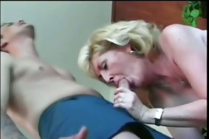 insane golden-haired granny with younger guy