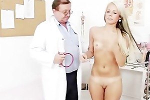 old doctor checks young blonde girl venus cunt