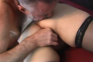 old non-professional couple home act with cum on