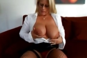robyn ryder sexy solo in fishnet & high heels