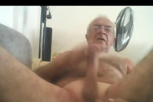 silver chest older man stroke and cum