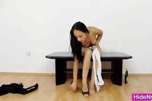 diminutive young miss hiding nylon nylons in her