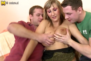 older lady drilled by two young boys