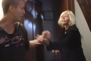 blonde old women pleases an juvenile chap