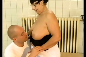 brunette busty old mama acquires big jock drilled