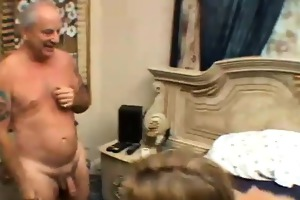 clair james, blonde honey dares to fuck an old