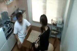 dad fucks sons gf in kitchen