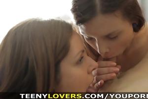 teeny lovers - sensual teen chicks share ramrod
