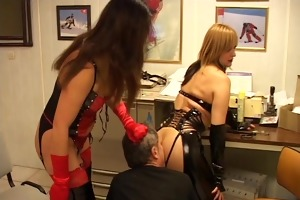 hot leather moms mock castigate old guy