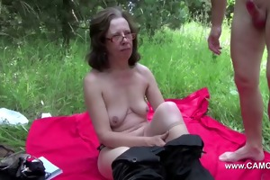 mom get touched outdoor by young males and fuck