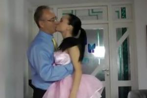hot ballerina sucking off old man