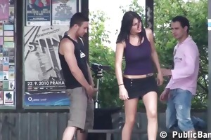 bizarre public threesome with young breasty legal
