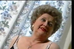 chubby old granny teases in nylons