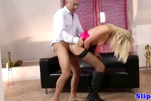spruce golden-haired fucked by old dude