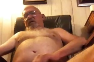 older man masturbates
