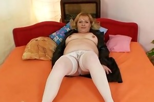 sexually excited aged lady wears nylons and toys