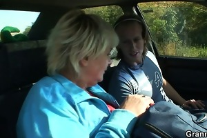he picks up and nails a dirty old bitch outdoors