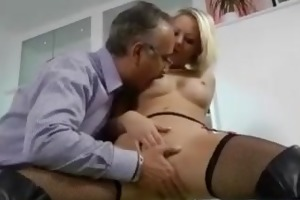 blonde in boots fucking an old man