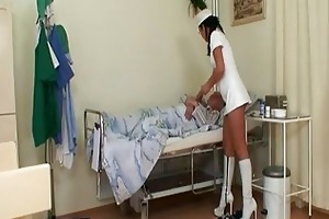 horny youthful nurse whore joins granny and...