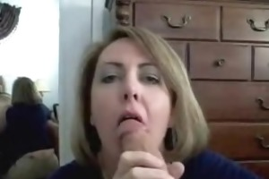 hot milf sucks huge ramrod and gets facialized