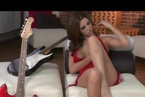 hot & horny big-tit red-head slut strips