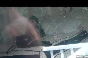 horny big-tit dark brown teen caught on tape