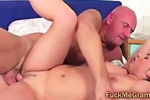 bald granddad copulates blond college girl