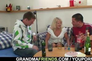 blonde granny in sexy threesome orgy