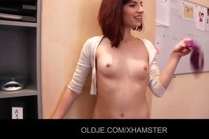 hawt secretary striptease to fucks his old boss