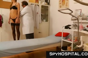 sporty blond medical exam on hidden webcam