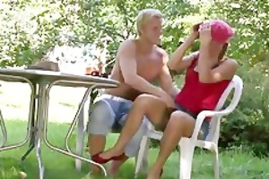 mom toying his gf outdoors