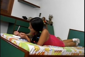 youthful latin chick in pigtails gets her ass