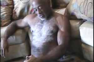 white chested ebony dad strokes