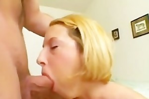 excited blonde swallows daddys cock