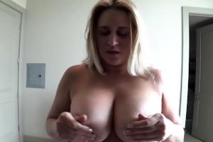 large natural tits milf jerks me off pov
