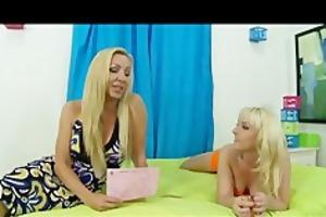 blond british milf teaches daughter to suck cock