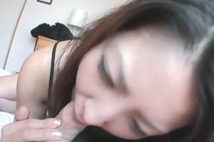 saya shows her blowjob skills as she is sucks him