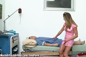 lascivious blond cougar nurse drilled by patient