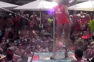 dantes pool wet tshirt pole contest during