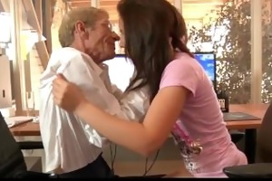 young hussy maid bonks with her old boss to keep