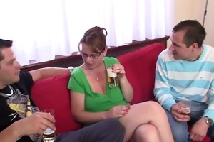 busty mom enjoys sucking and riding two ramrods