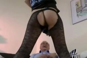 babe in nylons fucks old man