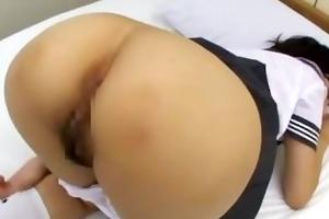 schoolgirl getting her unshaved cum-hole fingered