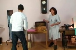 sewing granny takes her customers cock