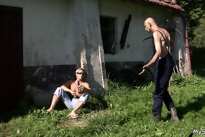 old chap pleases his son\s cheating gf outdoors