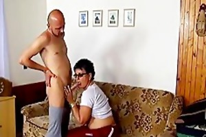 horny aged wife sucking penis and acquires