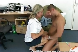 old lady drilled by younger boy