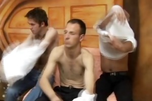 threesome homosexual sucking cock then cumfelching