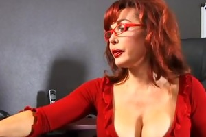 cute knob engulfing redhead takes cumshot from